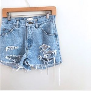 Pants - Custom made distressed high waist jean shorts
